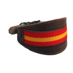 Collar de Cuero Artesano de Bandera Incrustada para galgo